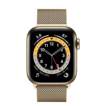 Часы Apple Watch Series 6 GPS + Cellular 44mm Gold Stainless Steel Case with Gold Milanese Loop. Фото N2