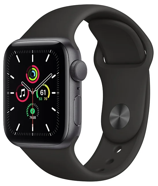 Часы Apple Watch SE GPS 40mm Aluminum Case with Sport Band Space Grey (Серый Космос/Чёрный)