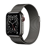 Apple Watch Series 6 44mm (GPS + Cellular) Graphite Stainless Steel Case with Black Stainless Steel Milanese Loop