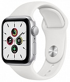 Apple Watch SE GPS 44mm Aluminum Case with Sport Band Silver / White (Серебристый / Белый) MYDQ2